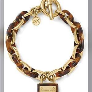 Michael Kors Padlock Chain Toggle Charm Bracelet
